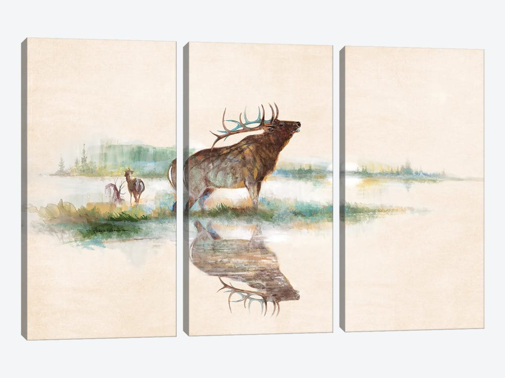Misty Elk by Ruane Manning 3-piece Canvas Artwork