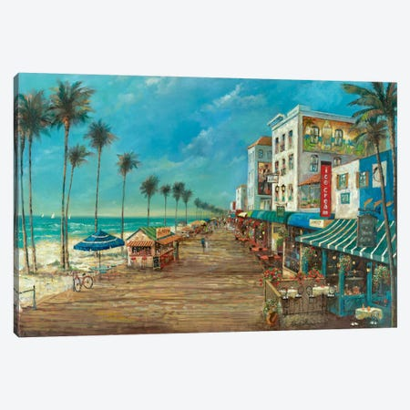 A Day On The Boardwalk Canvas Print #RUA2} by Ruane Manning Canvas Art Print