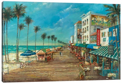 A Day On The Boardwalk Canvas Art Print