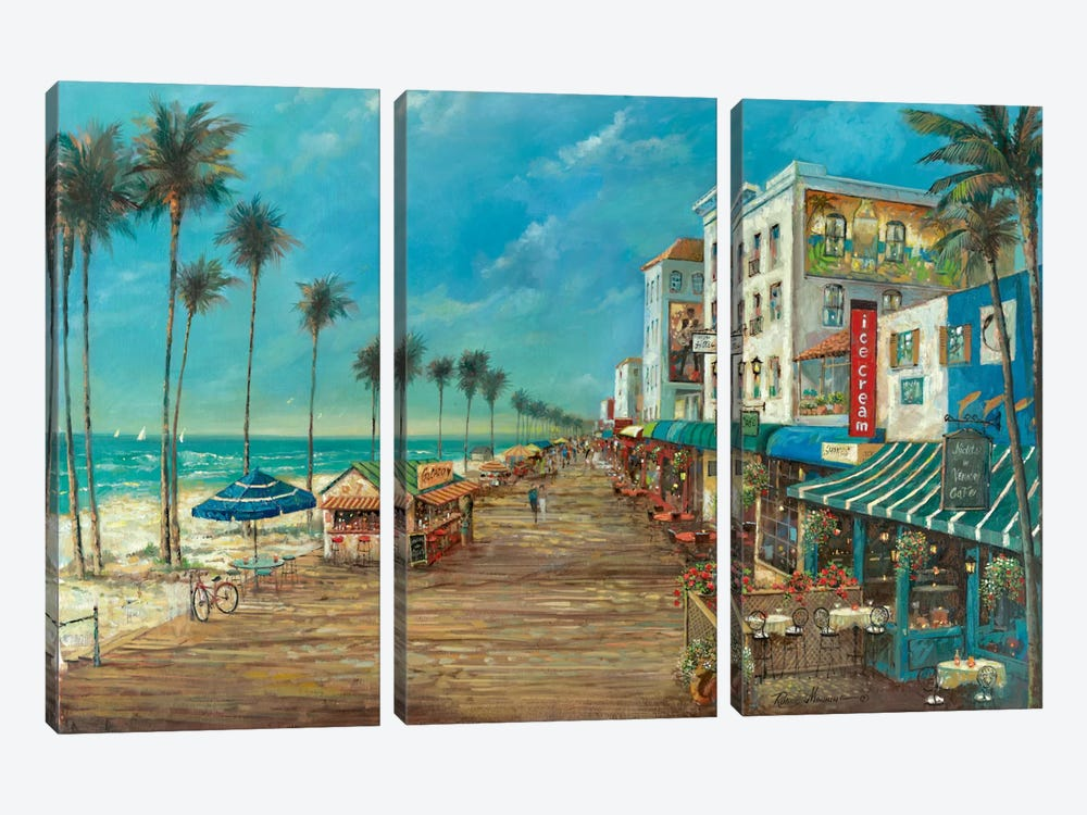 A Day On The Boardwalk by Ruane Manning 3-piece Canvas Print