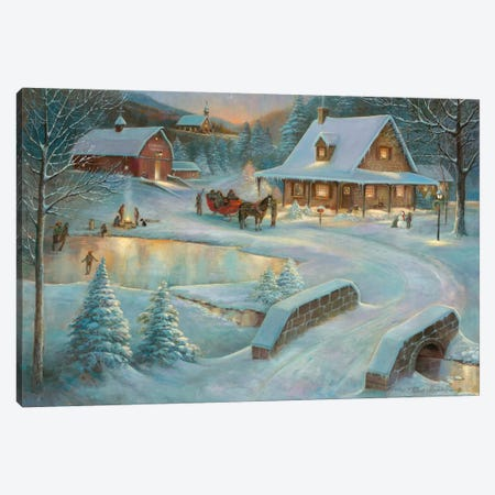Little Meadows Xmas Canvas Print #RUA47} by Ruane Manning Canvas Artwork