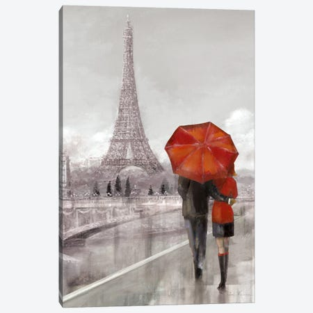 Modern Couple In Paris Canvas Print #RUA57} by Ruane Manning Canvas Art Print