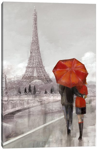 Modern Couple In Paris Canvas Art Print