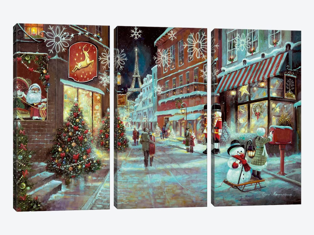 Paris Christmas by Ruane Manning 3-piece Art Print