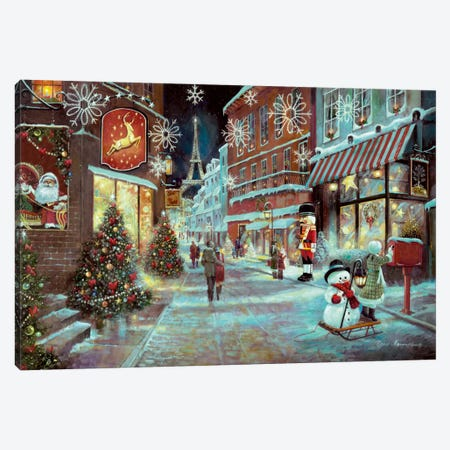 Paris Christmas Canvas Print #RUA65} by Ruane Manning Canvas Wall Art
