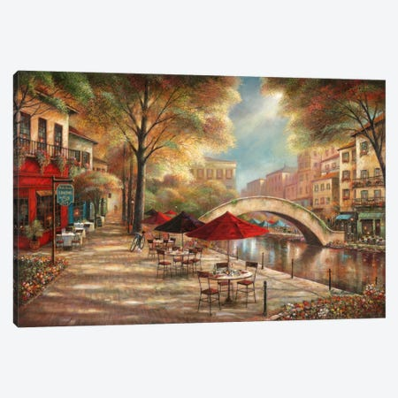 Riverwalk Charm Canvas Print #RUA71} by Ruane Manning Canvas Art
