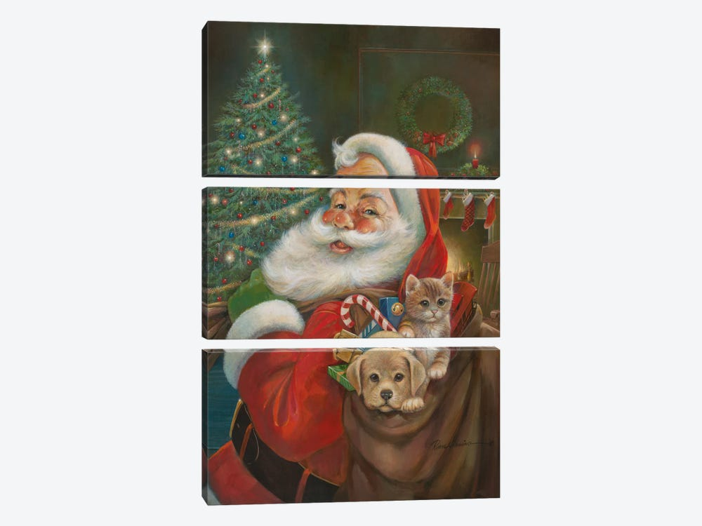 Santa Claus by Ruane Manning 3-piece Canvas Art Print