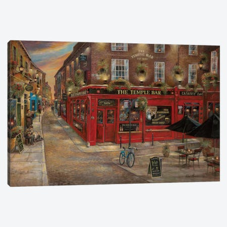 The Temple Bar Canvas Print #RUA88} by Ruane Manning Canvas Art Print