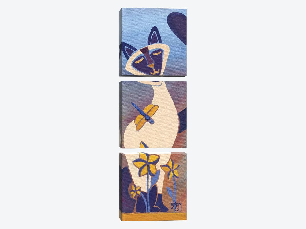 Siamese With Dragonfly I by Barbara Rush 3-piece Canvas Artwork