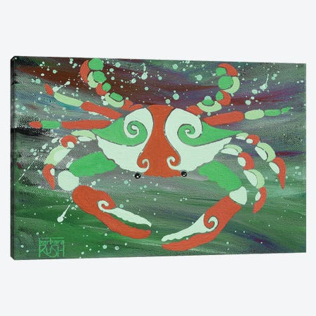 Crab Orange Green Canvas Print #RUH10} by Barbara Rush Canvas Print