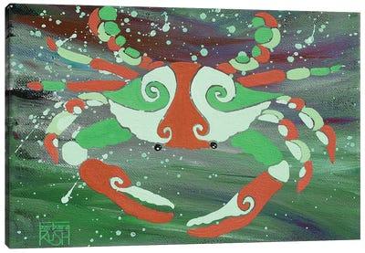 Crab Orange Green Canvas Art Print