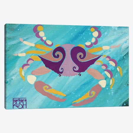 Crab Pink Orange Teal Canvas Print #RUH11} by Barbara Rush Art Print