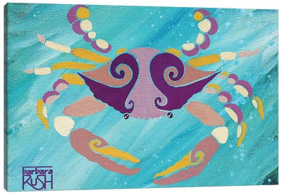 Crab Pink Orange Teal Canvas Art Print