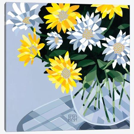 Half A Bouquet Of Daisies 3-Piece Canvas #RUH13} by Barbara Rush Canvas Art Print