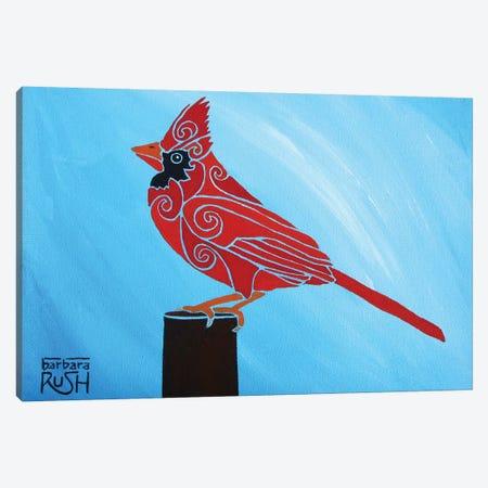 Who Me Cardinal Plain Sky Canvas Print #RUH146} by Barbara Rush Canvas Wall Art