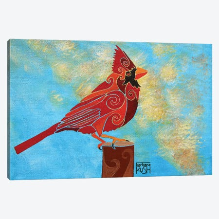 Who Me? A Cardinal In The Clouds 3-Piece Canvas #RUH147} by Barbara Rush Canvas Art