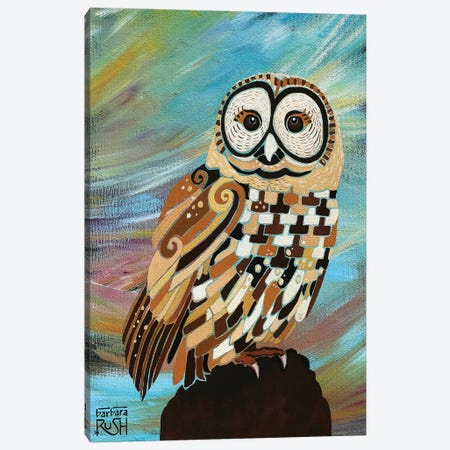 A Brand New Day Owl Canvas Print #RUH19} by Barbara Rush Art Print