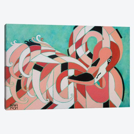 An Elegantly Tucked Flamingo 3-Piece Canvas #RUH27} by Barbara Rush Canvas Print