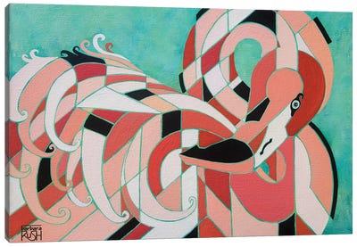 An Elegantly Tucked Flamingo Canvas Art Print