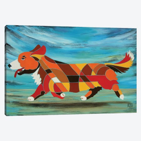 Corgi Beach 3-Piece Canvas #RUH39} by Barbara Rush Art Print