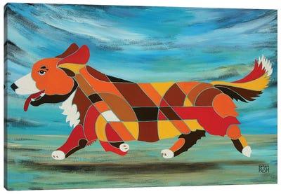 Corgi Beach Canvas Art Print