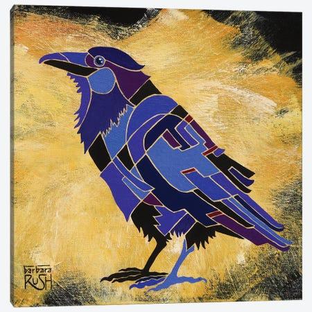 Crow On Mustard Canvas Print #RUH40} by Barbara Rush Canvas Wall Art