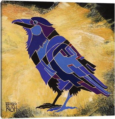 Crow On Mustard Canvas Art Print