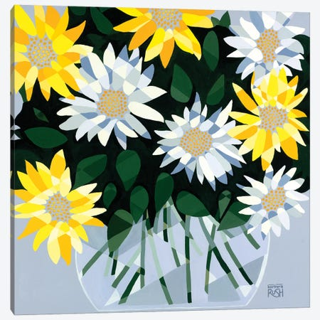 A Bouquet Of Delightful Daisies 3-Piece Canvas #RUH4} by Barbara Rush Canvas Art Print