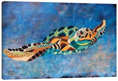 Gently Gliding Along Sea Turtle Canvas Art Print