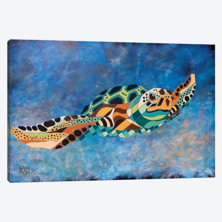 Gently Gliding Along Sea Turtle Canvas Print #RUH57} by Barbara Rush Canvas Wall Art