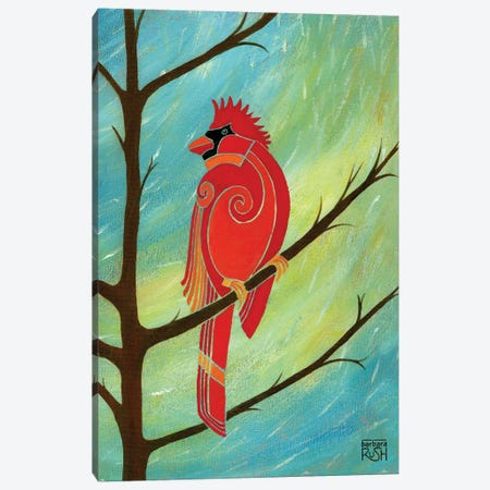 Just Looking Around Cardinal I 3-Piece Canvas #RUH68} by Barbara Rush Canvas Art