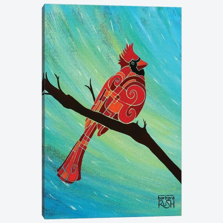 Just Looking Around Cardinal II Canvas Print #RUH69} by Barbara Rush Canvas Artwork