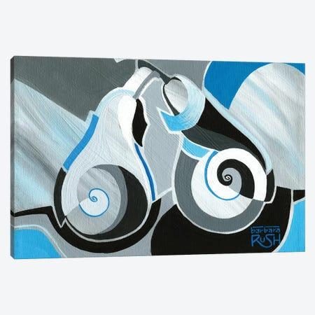 Cool Geocubist Pears In Blue Canvas Print #RUH6} by Barbara Rush Canvas Art Print