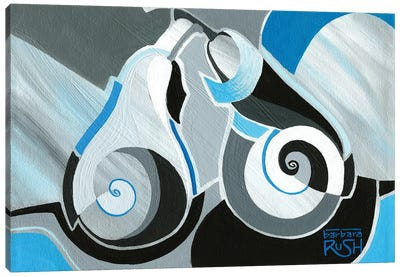 Cool Geocubist Pears In Blue Canvas Art Print