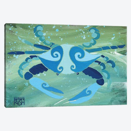 Crab Blue Green Canvas Print #RUH7} by Barbara Rush Canvas Print