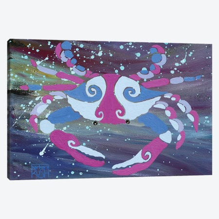 Crab Dark Pink Blue Canvas Print #RUH8} by Barbara Rush Canvas Wall Art