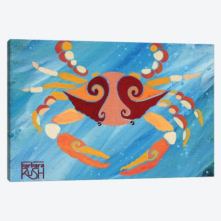 Crab Orange Blue Canvas Print #RUH9} by Barbara Rush Canvas Art