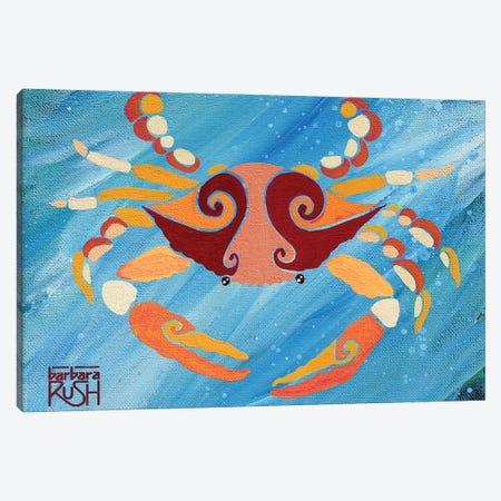 Crab Orange Blue 3-Piece Canvas #RUH9} by Barbara Rush Canvas Art