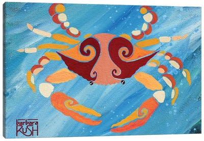 Crab Orange Blue Canvas Art Print