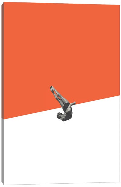 Diver Orange Canvas Art Print
