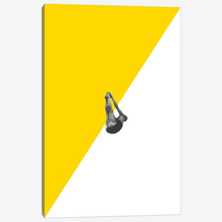 Diver Yellow Canvas Print #RVE36} by Richard Vergez Art Print