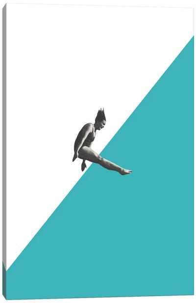 Diver (Torquoise) Canvas Art Print