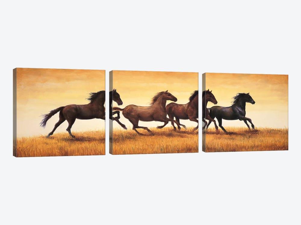 Stallions at Sunset by Ricardo Vargas 3-piece Canvas Art