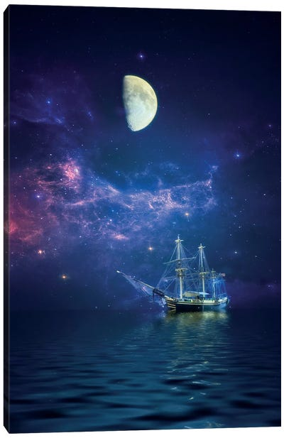 By Way Of The Moon And Stars Canvas Print #RVR10