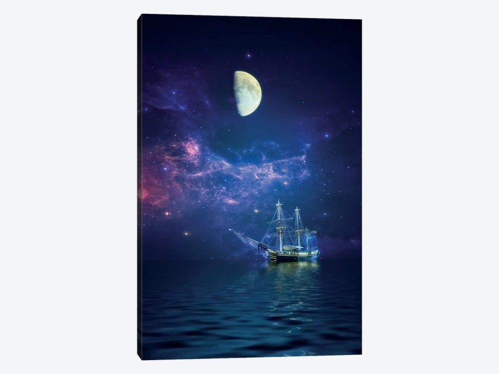 By Way Of The Moon And Stars by John Rivera 1-piece Canvas Wall Art