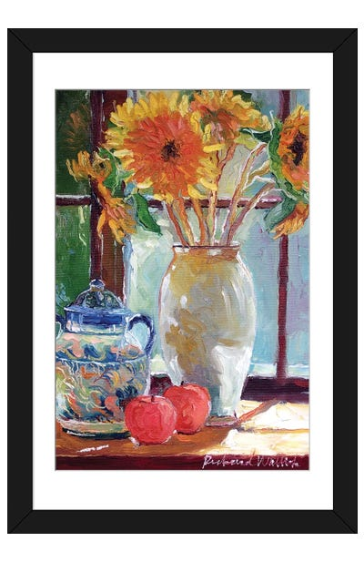 Sunflowers In A Vase Framed Art Print