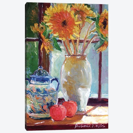 Sunflowers In A Vase Canvas Print #RWA172} by Richard Wallich Canvas Wall Art
