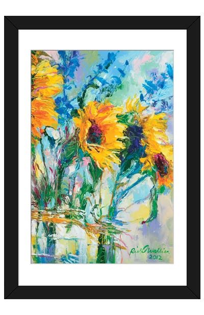 Sunflowers In Glass Bottles Framed Art Print