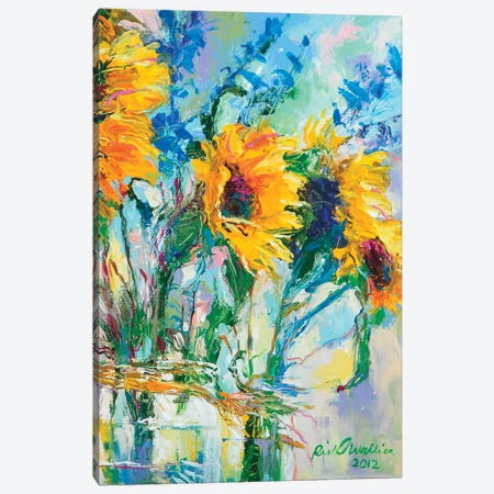 Sunflowers In Glass Bottles Canvas Print #RWA174} by Richard Wallich Art Print