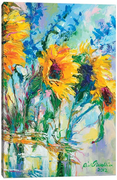 Sunflowers In Glass Bottles Canvas Print #RWA174